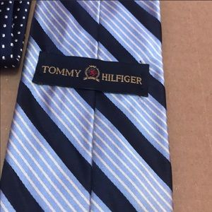 Men's Tommy Hilfiger blue and white striped tie